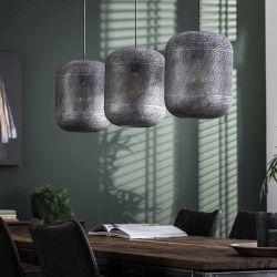 Suspension industrielle en métal argenté 3 lampes Erika