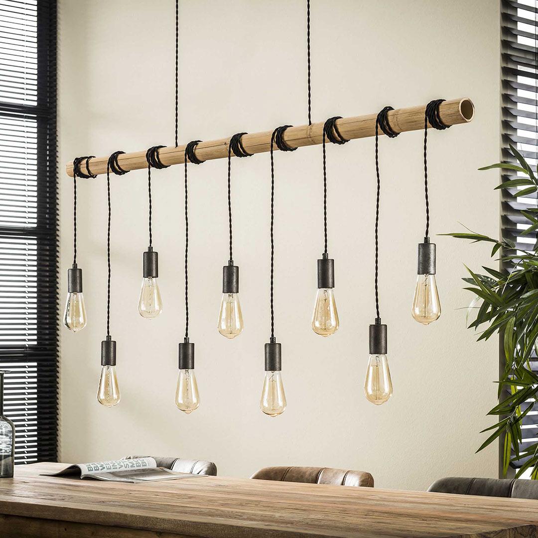 Suspension moderne en bambou 9 lampes Corentin
