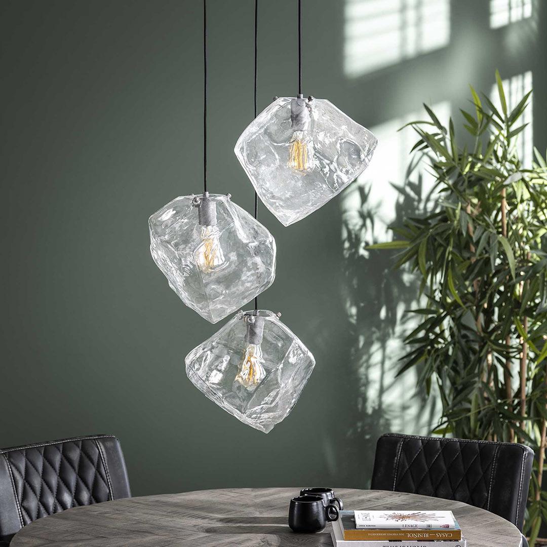 Suspension contemporaine en verre souflé 3 lampes Jack