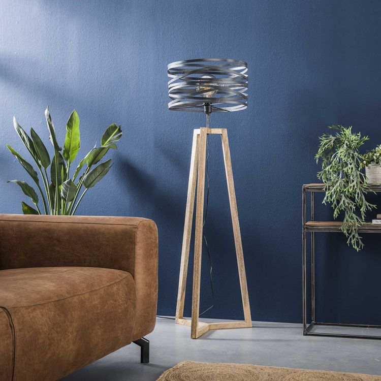 Lampadaire contemporain avec cadre en bois croisé Fabian