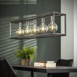Suspension industrielle en métal argenté 5 lampes Baptiste