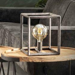Lampe de table industrielle en métal argenté Baptiste