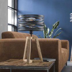 Lampe de table contemporaine avec cadre en bois croisé Fabian