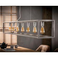 Suspension industrielle en métal argenté 7 lampes Sylvia
