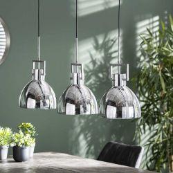 Suspension vintage en verre chromé 3 lampes Florian