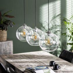 Suspension moderne en verre soufflé 3 lampes Olivio