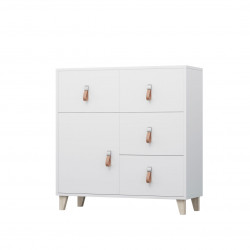 Commode enfant contemporaine blanche 90 cm Fidji