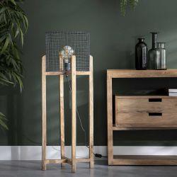 Lampadaire industriel en bois et métal Robin