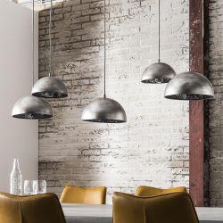 Suspension industrielle en métal argenté 5 lampes Ø 25 cm Joseph