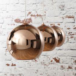 Suspension vintage 3 boules cuivre Disco