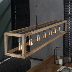 Suspension moderne en bois massif 7 lampes Lucas