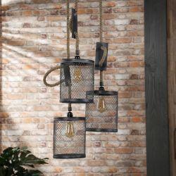 Suspension industrielle en métal gris 3 x Ø 20 cm Hector