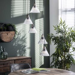 Suspension vintage avec abat-jour en verre 5 lampes Jason