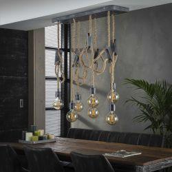 Suspension vintage cordes de jute 7 lampes Albin