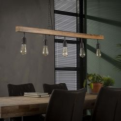 Suspension contemporaine en bois de manguier 5 lampes Jobi