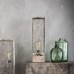 Lampe de table vintage carré en métal et bois gris Arielle
