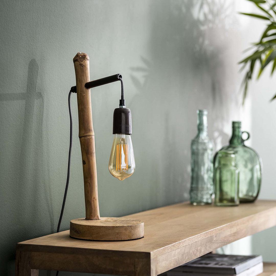 Lampe de table moderne en bois et métal Perla