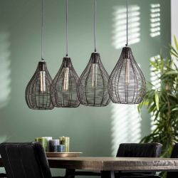 Suspension contemporaine en métal noir 4 lampes Nicolas