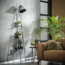 Lampe-étagère industrielle en métal gris Charlie