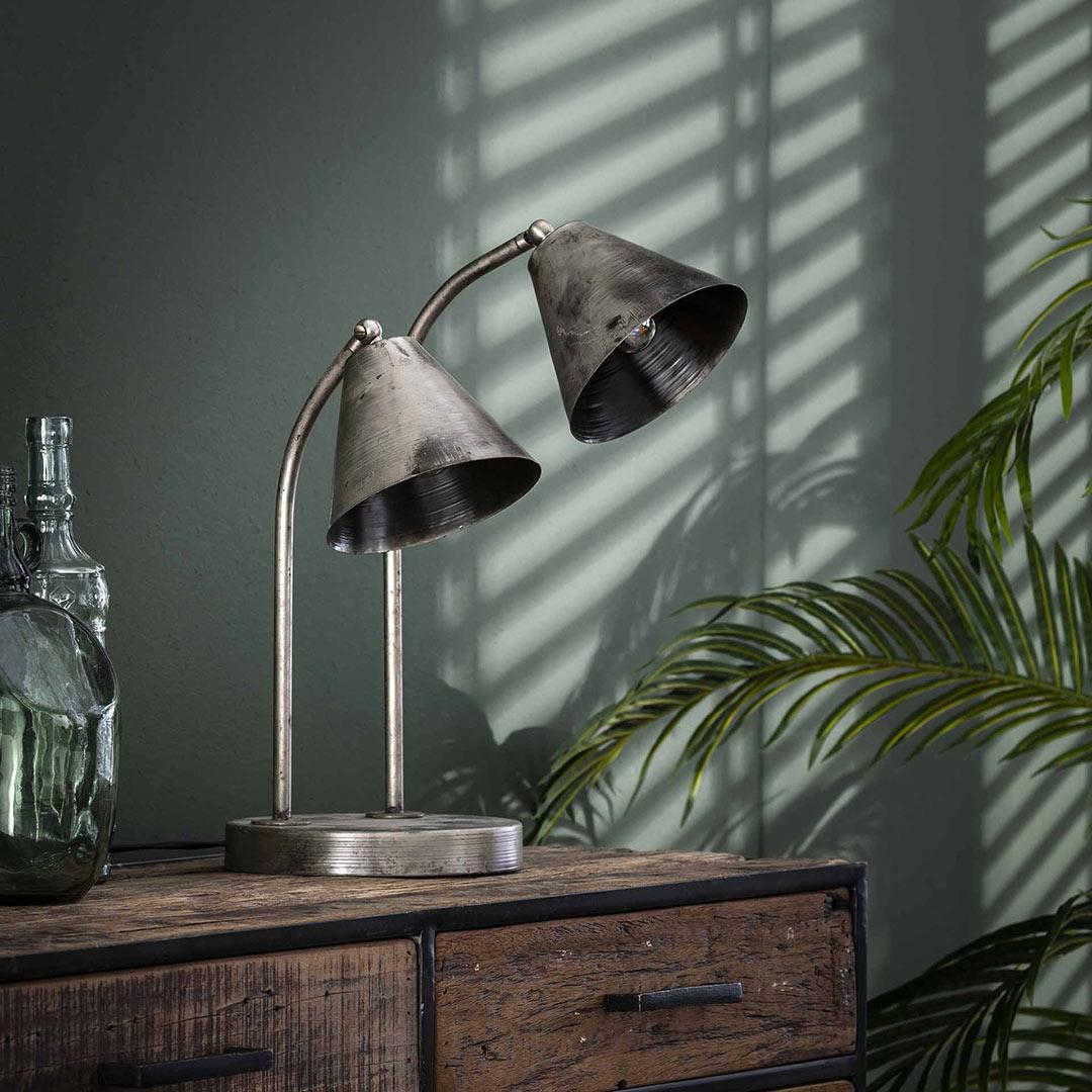 Lampe de table industrielle en métal gris abat-jours réglables Christian