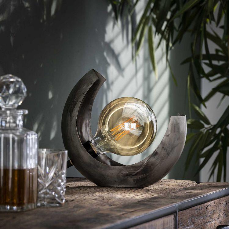 Lampe de table industrielle demi-lune en métal gris Christian