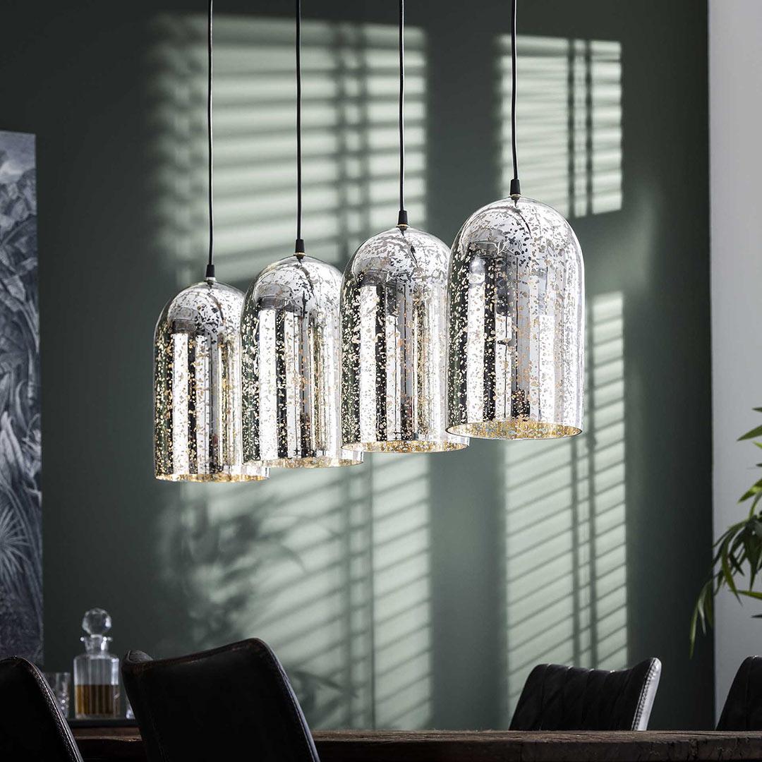 Suspension industrielle en verre argenté 4 lampes Lewis