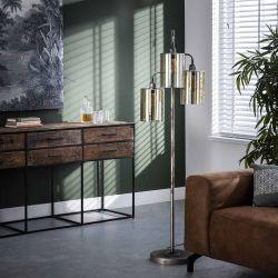 Lampadaire industriel 3 lampes en métal et verre ambré Lincoln