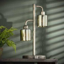 Lampe de table industrielle 2 lampes en métal argenté et verre ambré Lincoln
