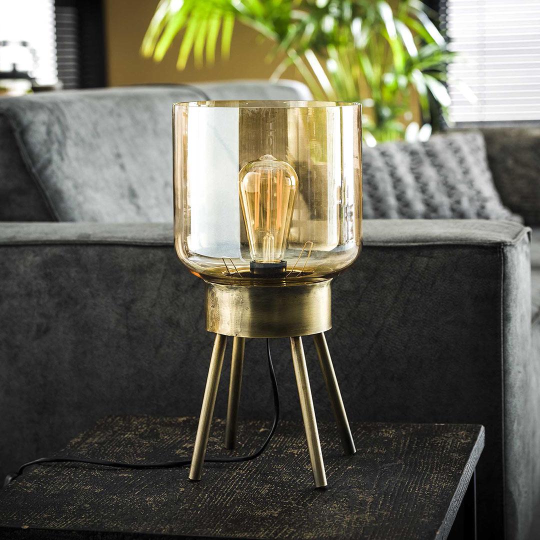 Lampe à poser sur pieds vintage en métal et verre ambré Ø 20 cm Darius
