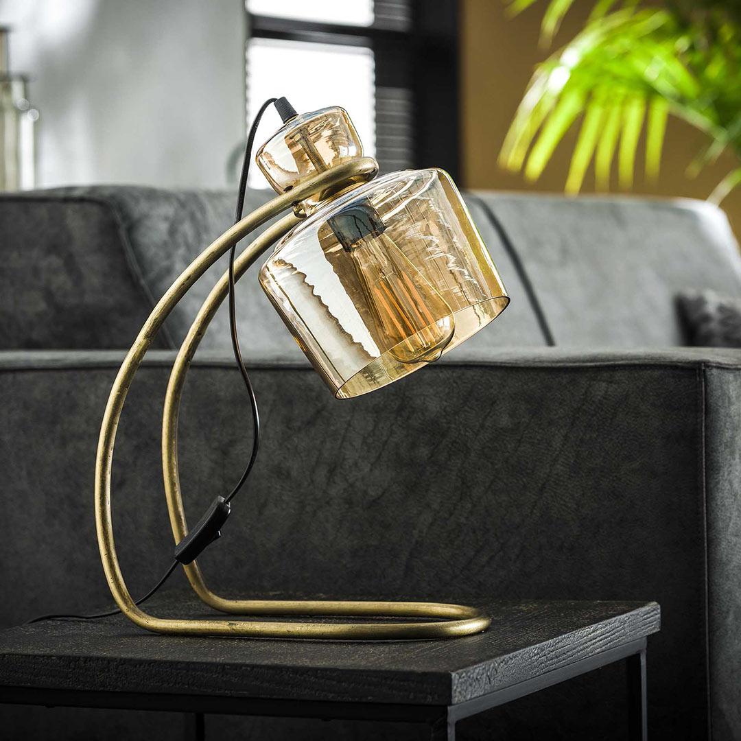 Lampe de table vintage en métal et verre ambré Darius