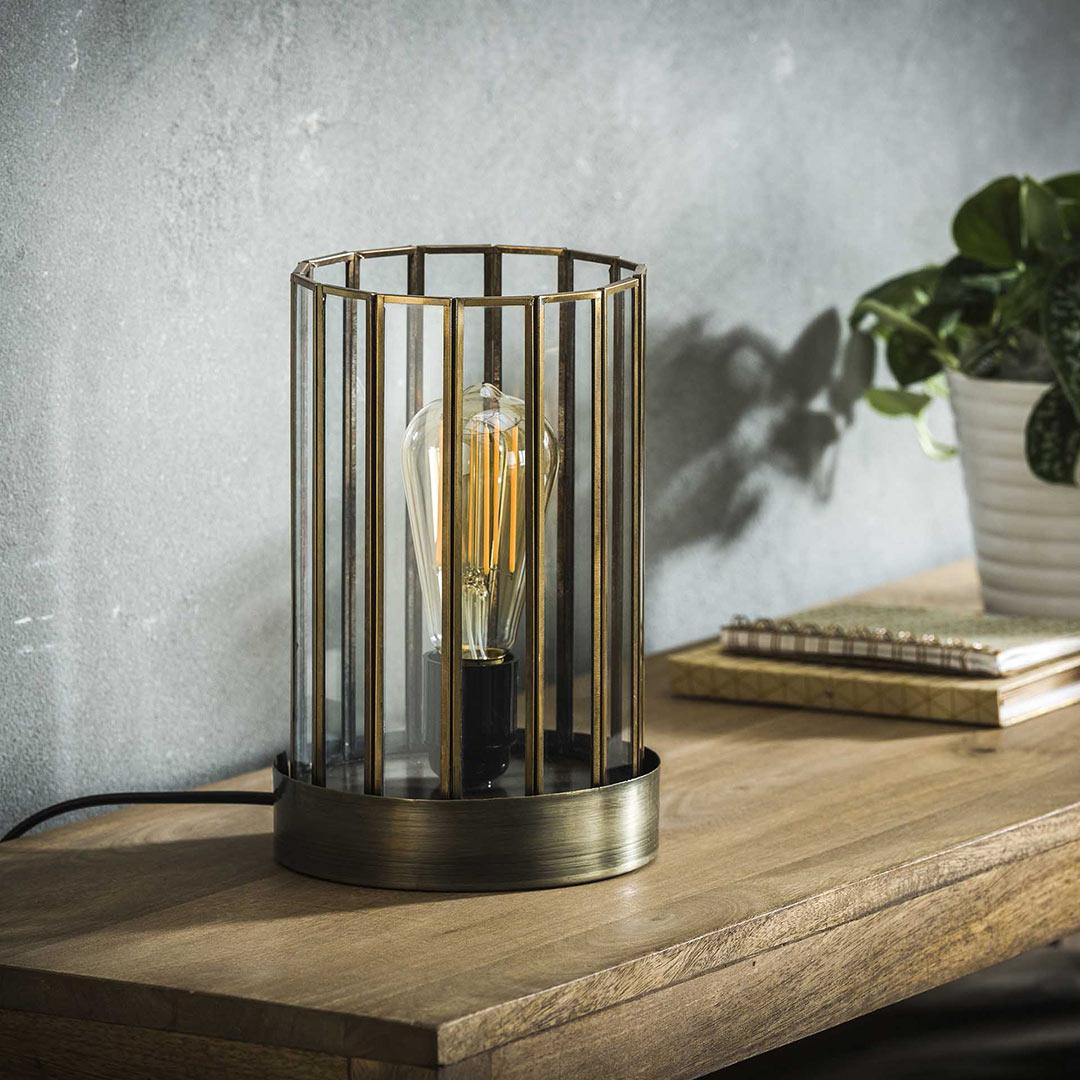 Lampe à poser vintage en métal et verre Ø 17 cm Anna