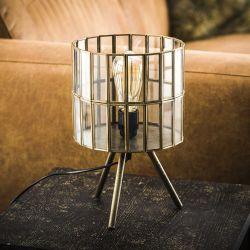 Lampe de table ronde vintage sur pieds en métal et verre Ø 20 cm Anna