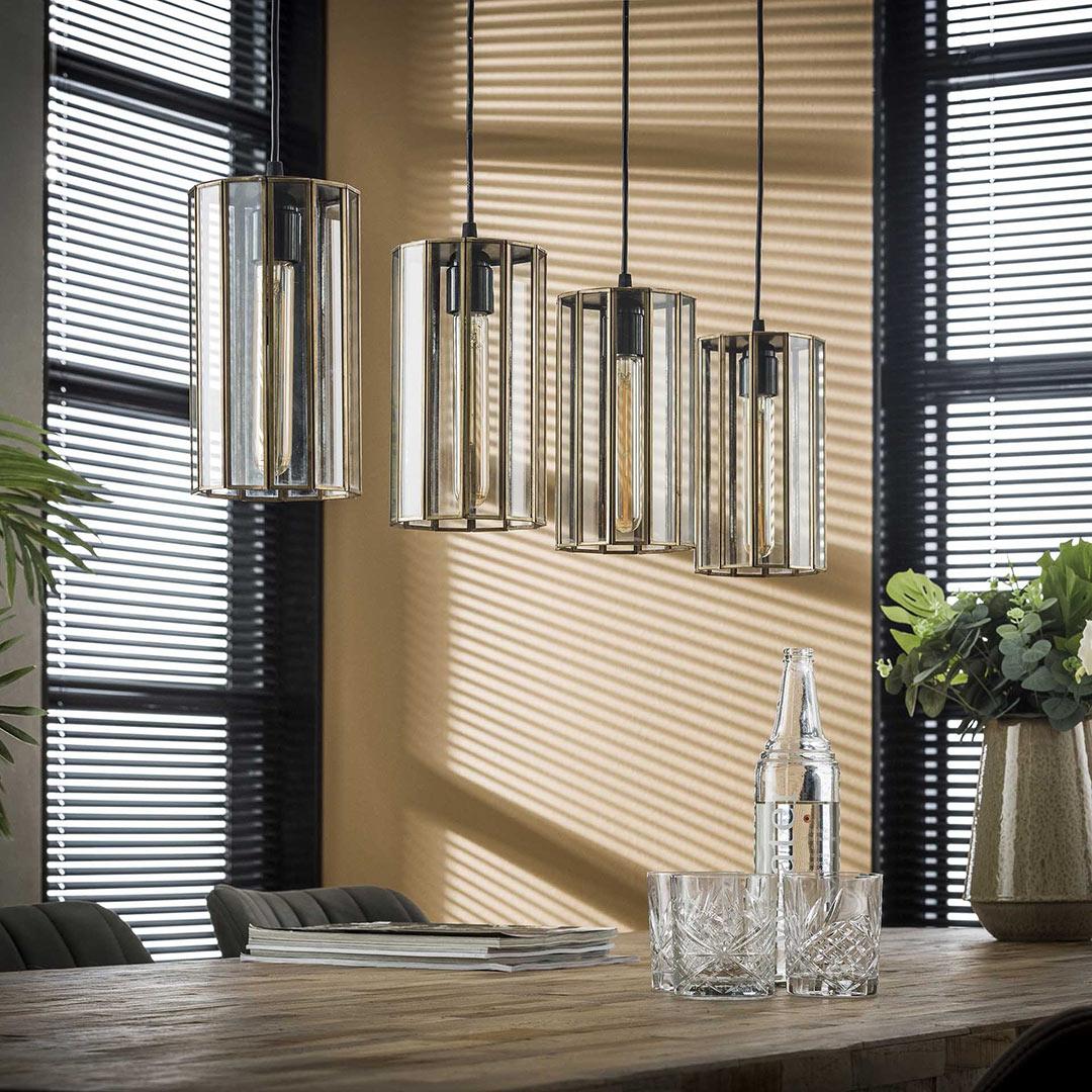 Suspension vintage 4 lampes avec abat-jours en verre Novak