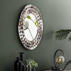Miroir contemporain en métal Ø 65 cm Manu