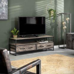 Meuble TV industriel en acacia gris et métal Léon
