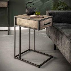 Table d'appoint industrielle en acacia gris et métal Léon