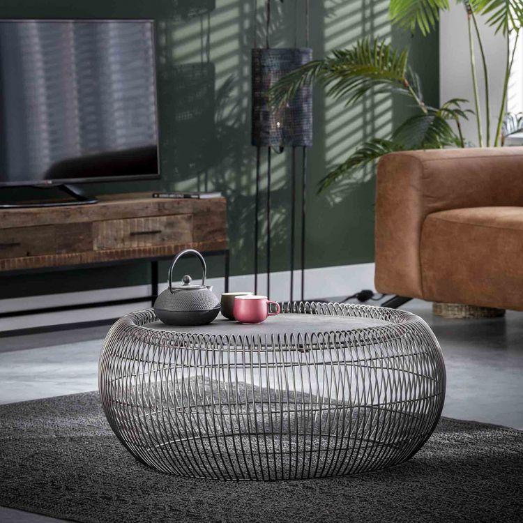 Table basse industrielle ronde en métal gris foncé Diego