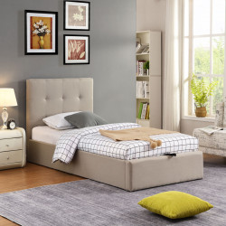 Lit coffre moderne en tissu beige Torrento