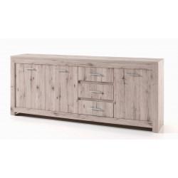 Buffet/bahut contemporain 214 cm chêne gris Priscillia I