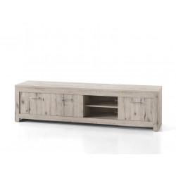 Meuble TV contemporain 214 cm chêne gris Priscillia