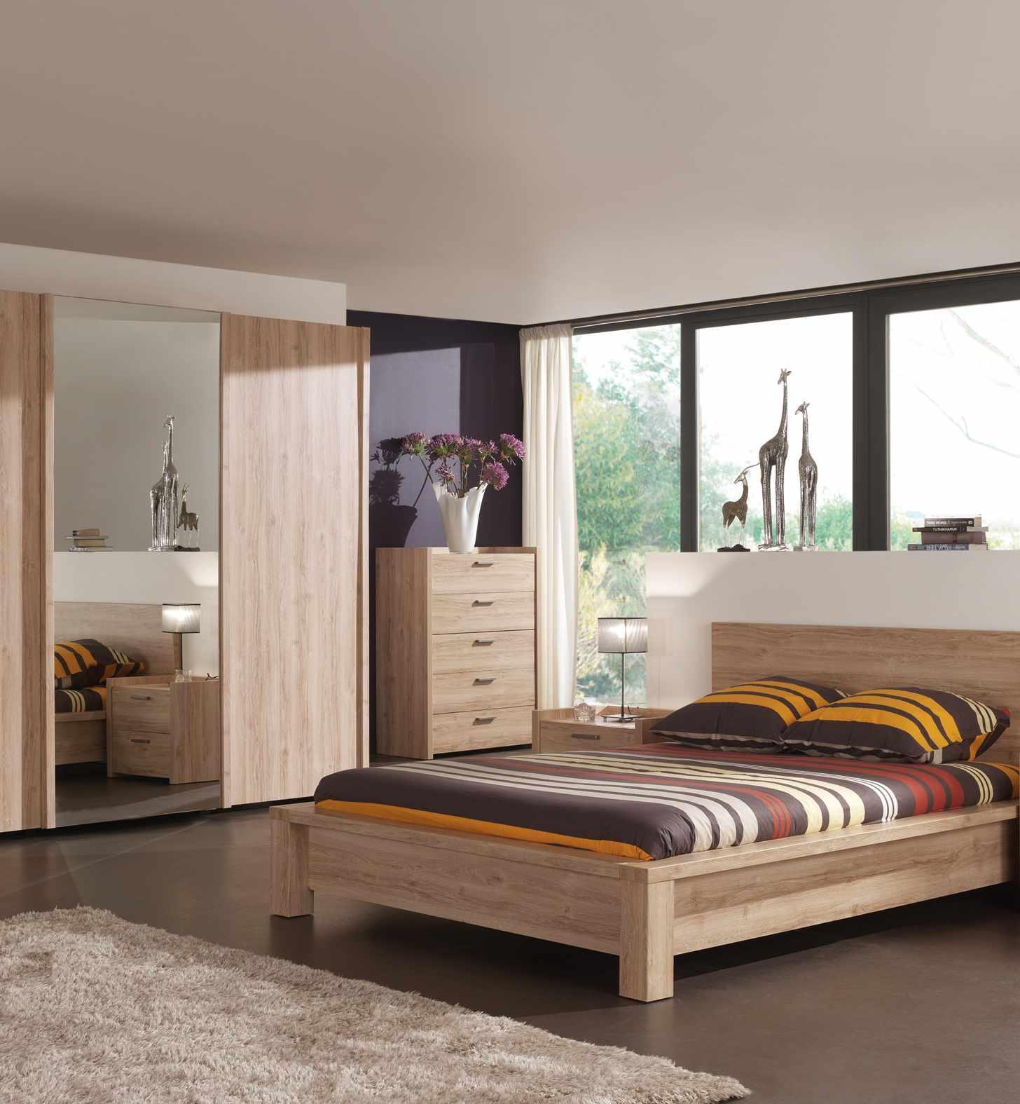 Commode 5 tiroirs contemporaine chêne clair Florine