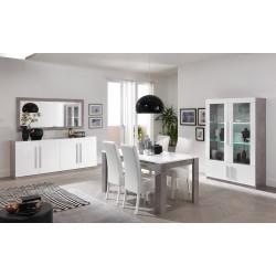 Salle à manger design laquée blanc/marbre Odetta