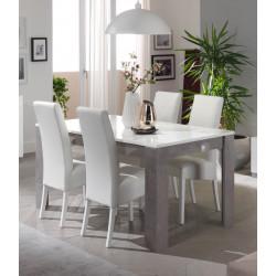 Table de salle à manger design laquée blanc/marbre Odetta