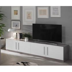 Meuble TV design 208 cm laqué blanc/marbre Odetta
