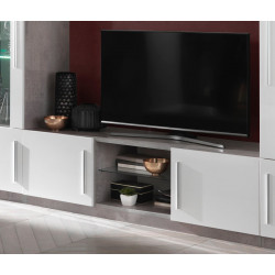 Meuble TV design 156 cm laqué blanc/marbre Odetta