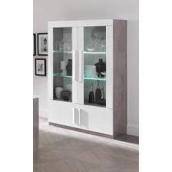 Vitrine design laquée blanc/marbre Odetta