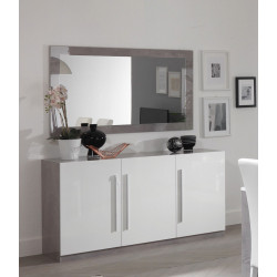 Buffet/bahut design 156 cm laqué blanc/marbre Odetta