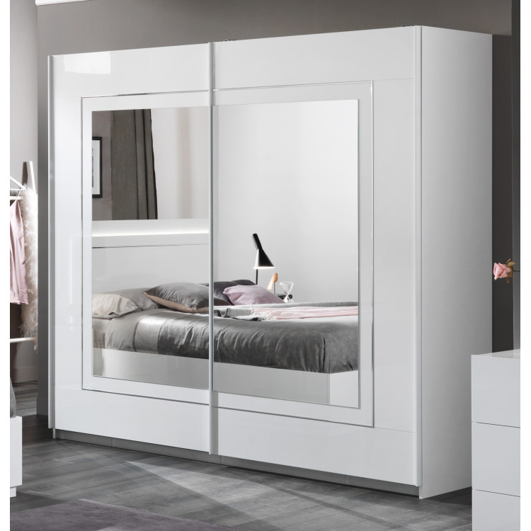 Armoire adulte moderne laquée blanche Clemence