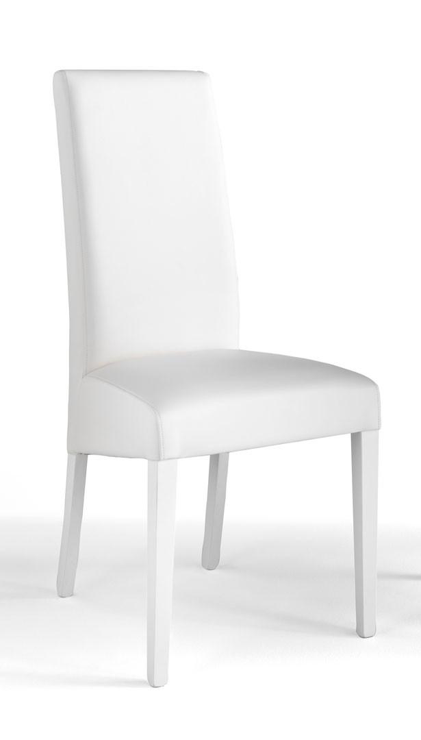 Chaise de salle à manger en PU blanc (lot de 2) Adriana I