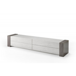 Meuble TV moderne 250 cm béton foncé/béton clair Evita